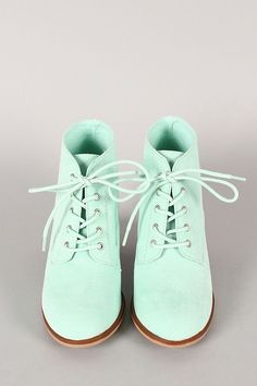 Ladies' mint green faux suede lace up ankle booties Sock Shoes, Cute Shoes, Me Too Shoes, Shoe Boots, Pastel Mint, Mint Blue, Aqua, Teal, Color Menta