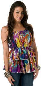 Prototype® Ladies Multi Colored Tiered Spaghetti Strap Top $20.00
