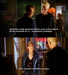 Spike and Buffy; this part of this episode cracked me up....kitten poker bahaha Spike Buffy, Buffy Summers, Joss Whedon, Doctor Who, Sarah Michelle Gellar, Supernatural, Magic Shop, Geek Girls, Buffy The Vampire Slayer Funny