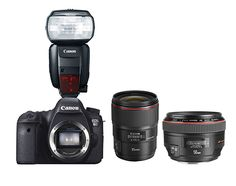Don't miss a moment with this camera setup, suitable for getting great shots at any live event. Included is the 50.3 megapixel Canon 5Ds, a 50mm 1.2, a 35mm 1.4, and the 600EX-RT speedlight, perfect for low light shooting. Try it today!