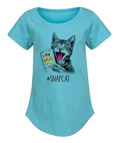 Another great find on #zulily! Aqua 'Snapcat' Curved-Hem Tee - Girls #zulilyfinds
