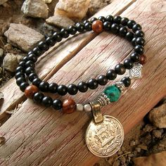 s t r e n g t h  ebony genuine turquoise and vintage by lovepray, $34.50