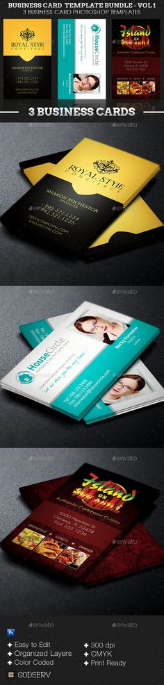 Business Card Template Bundle – Volume 1 is geared to make your production work faster and easier. Three distinct and effective business card templates (Royal Concierge Business Card, Realtor Business Card and Island On The Grill Restaurant Business Card Template) are included in this bundle.