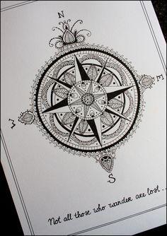 compass star tattoo - Google Search