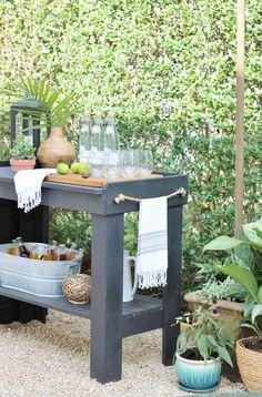 Hamptons Inspired Backyard-Shop The Look Hamptons Inspired Backyard Reveal-Painted Bar Sherwin Willi Outdoor Rooms, Outdoor Gardens, Outdoor Living, Outdoor Decor, Outdoor Bars, Outdoor Bar Cart, Outdoor Showers, Outdoor Kitchens, Paint Bar