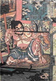 No.35 湯隆 金銭豹子(88)    武器甲冑製造         火と鉄床の傍に座る鍛冶屋の湯隆    鉄棒がまっすぐかどうか調べている