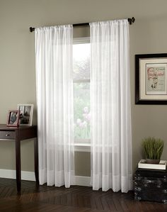 our living room curtains: Soho Voile Lightweight Sheer Curtain Panel… White Sheer Curtains, Voile Curtains, Fabric Blinds, Sheer Curtain Panels, Window Curtains, White Tulle, Sheet Curtains, Neutral Curtains, Window Panels