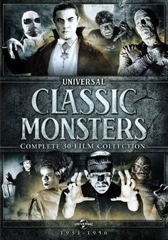 Universal Classic Monsters: Complete Collection (Dracula / Frankenstein / Bride of Frankenstein / Wolf Man / The Mummy / Invisible Man / Creature from the Black Lagoon / Phantom of the Opera) Universal Studios Classic Monster Movies, Classic Horror Movies, Classic Monsters, Halloween Movies, Scary Movies, Scary Characters, Halloween Photos, Christmas Movies, Vintage Halloween