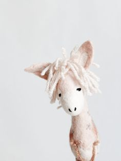 Sofia - 100% Organic toy, Felt Donkey, Plant Dyed Wool , Art Toy, Puppet, Marionette. pale pink, natural.