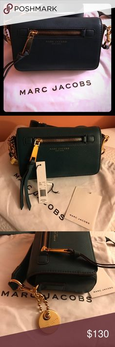 "Marc Jacobs Recruit Crossbody Fall 2016 Marc Jacobs Recruit Leather Crossbody Bag In Teal *Gold Hardware *Detachable adjustable 21"" strap *Magnetic flap closure Marc Jacobs Bags Crossbody Bags"