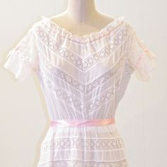 1910s Edwardian Dress, Embroidered White Cotton Eyelet & Lace Antique Bridal Dress, Ribbon Drawstring Detail, Downton Abbey