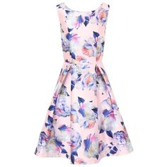 Chi Chi London Digital Floral Print Midi Dress featuring polyvore, women's fashion, clothing, dresses, pink, women, day to night dresses, midi flare dress, fit and flare dress, pink dress and knee-length dresses