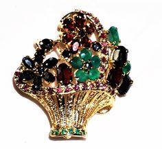 GORGEOUS Gold Tone Emerald Fruit Salad Flower Basket Rhinestone Brooch Vintage multi color rhinestones
