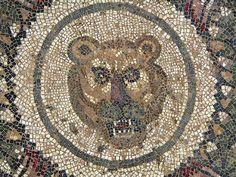 Roman Mosaic. Lion Head. Villa Romana del Casale, Piazza Armerina, Sicily, Italy.province of Enna