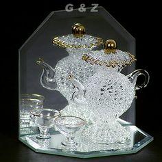 "Hand Spun Glass | Teapot & Cups(3 1/2""H)"