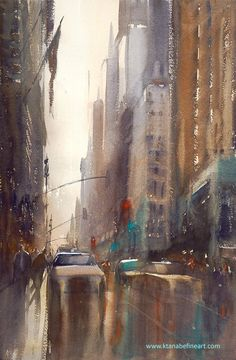 "Painting: ""After the Rain, New York City I"" watercolor by Keiko Tanabe"