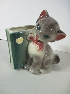 Vintage Royal Copley Pottery Cat Kitten Bookend Planter 1950's Excellent Animal | eBay