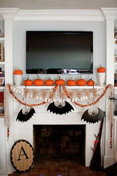 find this pin and more on halloween top 16 elegant mantel decor - Halloween Mantel Decorations