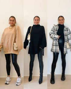 Leggings Outfit Winter, Leather Leggings Outfit, Tights Outfit, Faux Leather Leggings, Winter Fashion Outfits, Fall Outfits, Fall Fashion, Business Casual Outfits, Stylish Outfits