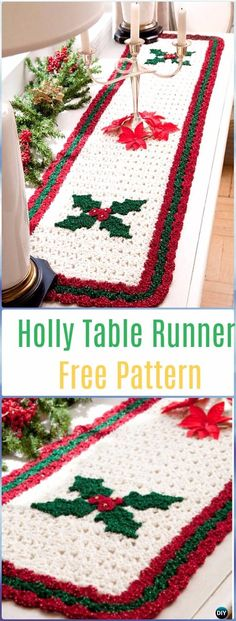 Crochet Holly Table Runner Free Pattern- Crochet Table Runner Free Patterns