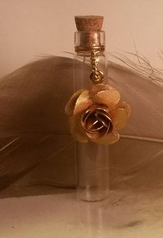 Golden Rose Vial Necklace by SomethingStained on Etsy