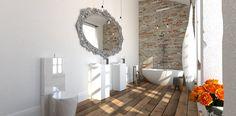 Współczesna łazienka w zabytkowym wnętrzu.