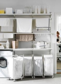 How to Use This Unexpected IKEA Product in Every Room of the Home How to Use This Unexpected IKEA Product in Every Room of the Home Maria Lien lienmaria Vaskerom IKEA Algot Closet Organizing System Ikea Laundry Room, Laundry Closet, Laundry Room Organization, Small Laundry, Laundry Room Design, Bathroom Closet, Laundry Bags, Laundry Drying, Ikea Algot