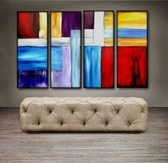 "'Color splash' - 48"" X 30"" Original Abstract Art Painting. Everyone knows that accessories complete the home. With several pieces of paintings to choose from, your search for a perfect, one of a kind original artwork for your walls ends here.You don't need to settle for anything less than a perfect look. Enjoy free-shipping throughout USA, Free hanging hardware and 30-day return."