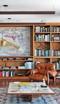 wooden bookcase This would be a great library or den. Home Design Decor, House Design, Home Decor Furniture, Furniture Design, Interior Decorating, Interior Design, Mid Century Decor, Home And Living, Modern Decor