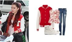 ~Ariana Grande Fashion Inspiration~ Jacket: TOPSHOP Plain Varsity Jersey Bomber Jacket $70 - topshop.com Top: Parker Watercolor Floral Emma Strapless Top $187 - bleuclothing.com Jeans: RIPPED SKINNY JEANS $35 -allyfashion.com Shoes: Fashion By C Texture Sneaker $170 - nelly.com