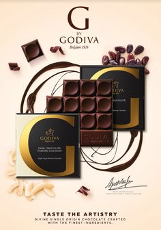 G by Godiva, six decadent new tablets, divine flavours designed to give you the ultimate chocolate experience Explore the flavours on our website.