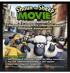 Are you excited about the new @shaunthesheep movie hitting theaters Aug. 5th?! There's a contest going on, enter your child's artwork tagged #shaunthesheepflock details at bit.ly/1ffnOvM  #ad