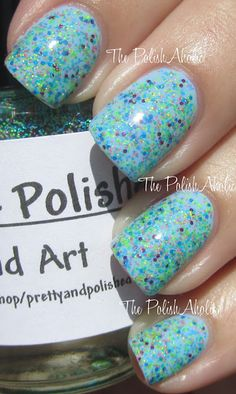 The PolishAholic: Pretty & Polished Sand Art  I used 1 coat of Sand Art over Essie Bikini So Teeny  Pretty & Polished is available on etsy here! It looks like her next restock is tomorrow night! Full sized polishes go for $8.50 each!