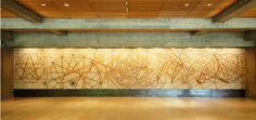 Painel 'Começar' de José de Almada Negreiros, Inaugurado em 1969, Fundação Calouste Gulbenkian. (gravado em calcário polido, com 12,87m de comprimento e 2,31 m de largura).