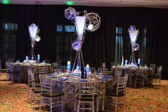 Club Theme Bar Mitzvah Event Decor Glowing Centerpieces  Blue & Silver Color Scheme Party Perfect Boca Raton, FL 1(561)994-8833