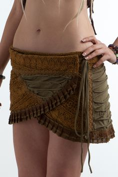 Crochet and Ribbed cotton mini skirt  £35.99 by GEKKO BOHOTIQUE  Goa Trance,Steampunk,Psytrance,Hippie,Boho,Tribal festival clothing. Pocket belts, hats and wrists Warmers.Come visit our shops in Camden and Greenwich Markets