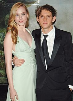 Evan Rachel Wood and Jamie Bell.  The actors got married in California Oct. 30 2012. Evan Rachel Wood wore a custom gown by Carolina Herrera with capped sleeves and striped ribbon waist detail. #celebstylewed #bridal #nuptials