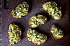 leek toasts with blue cheese | smittenkitchen.com