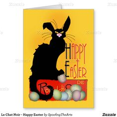 Send #Easter Greetings with #LeChatNoir by #SpoofingTheArts at #Zazzle #Gravityx9 Designs