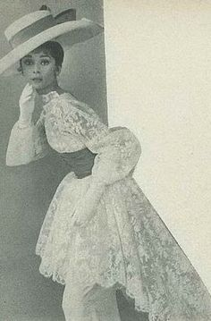 """The actress Audrey Hepburn photographed by Cecil Beaton to a fashion editorial about the style of """"My Fair Lady"""" (1964). -Audrey was wearing costume by Cecil Beaton (created for the Ascot scene)."""