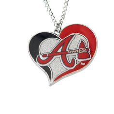 Atlanta Braves Women's Swirl Heart Necklace