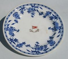 Here is a plate of 2nd Class China. It was in the Delft Style, and was the only style used in 2nd Class. It was also known as the Flow Blue.