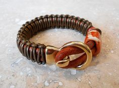 Bronze Knotted Halo Clasp leather bracelet by Sheleestudios, $24.00