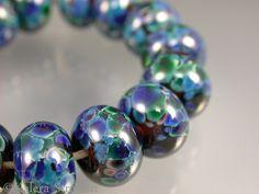 """Arcata"" set of 15 blue green organic lampwork beads- Kalera Stratton SRA"