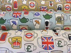 Novelty London Mugs, British Printed 100% Cotton Poplin Fabric.