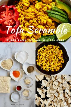 Delicious vegan tofu scramble - a wonderful dairy-free scrambled eggs alternative perfect for a high protein, dairy-free, gluten-free healthy vegan breakfast Veggie Recipes Healthy, Easy Chicken Recipes, Vegetarian Recipes, Homemade Soy Milk, Homemade Tofu, Vegan Breakfast Options, Healthy Vegan Breakfast, Scrambled Tofu Recipe, Scrambled Eggs