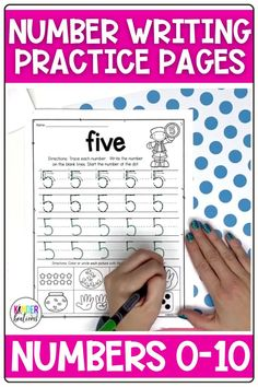 Number writing practice for numbers 0-10! These simple, no-prep worksheets come with 3 different versions to choose from. These trace and write number writing practice pages can be used whole-group, in a small group, independently, or as homework. There is also a special component at the bottom of each page for counting practice. Perfect for Kindergarten, Pre-K, TK, and homeschool. #math #kindergarten #preschool #kindergartenmath #commoncore #prek #numbers #numberwriting