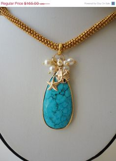 large turquoise pearl beaded neckalce.gold by veroniquesjewelry, low low price just for mothers day SALE end on 5/15/2014  $132.00