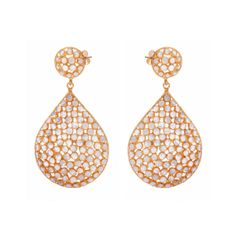 Crystal and gold teardrop earrings