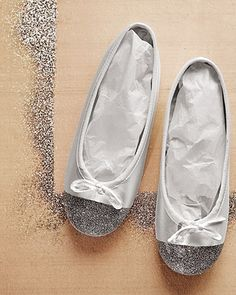 Ballet Shoes that Sparkle: Deck out your flower girl in shimmer-dipped ballet slippers; to make, mask off non-glitter areas with tape, apply white glue with a paintbrush, then shake on the glitter.